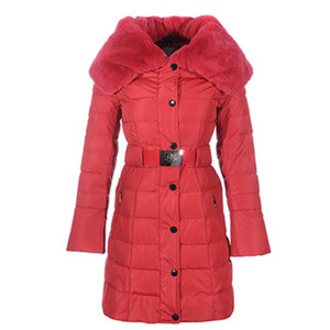DG1928 New Femmes Moncler Single-breasted Long Down Coats Rouge [899c]